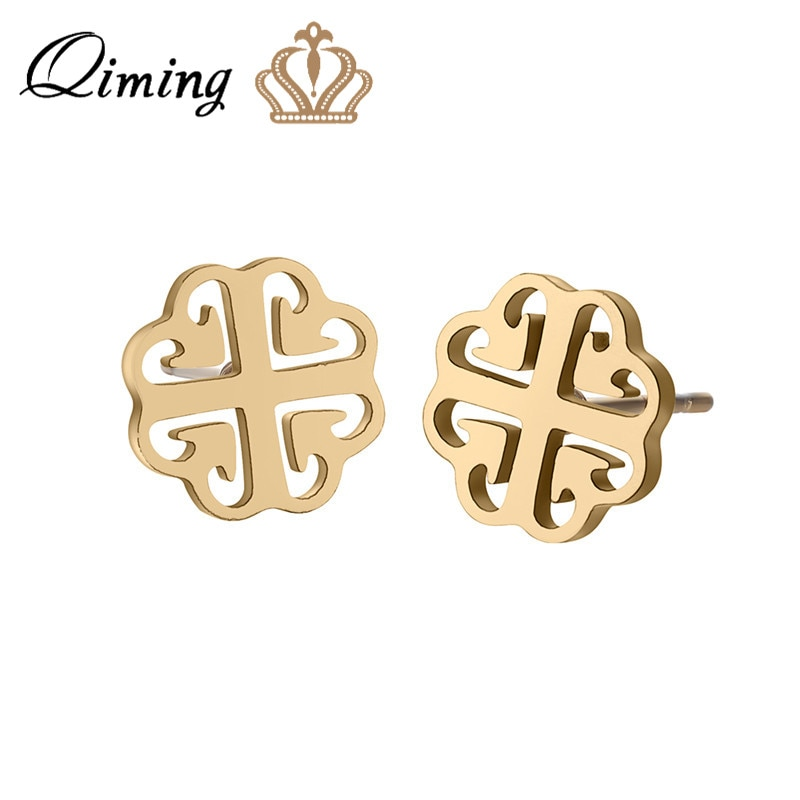 QIMING Stainless Steel Clover Women's Earrings Elegant Ethnic Bohemia Wholesale Jewelry Birthday Gift Ear Studs Bijoux Femme