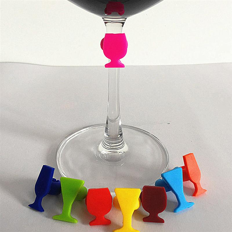 8Pcs מטבח סיליקון יין זכוכית סמן לשימוש חוזר כוס מזהה זכוכית צורת משקאות כוס לחתום קוקטייל ארוחת ערב (מעורב צבעים)