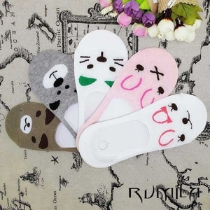 CAT comfortable cotton bamboo fiber girl women's socks ankle low female invisible  color girl boy hosier 12pair=24pcs WS67