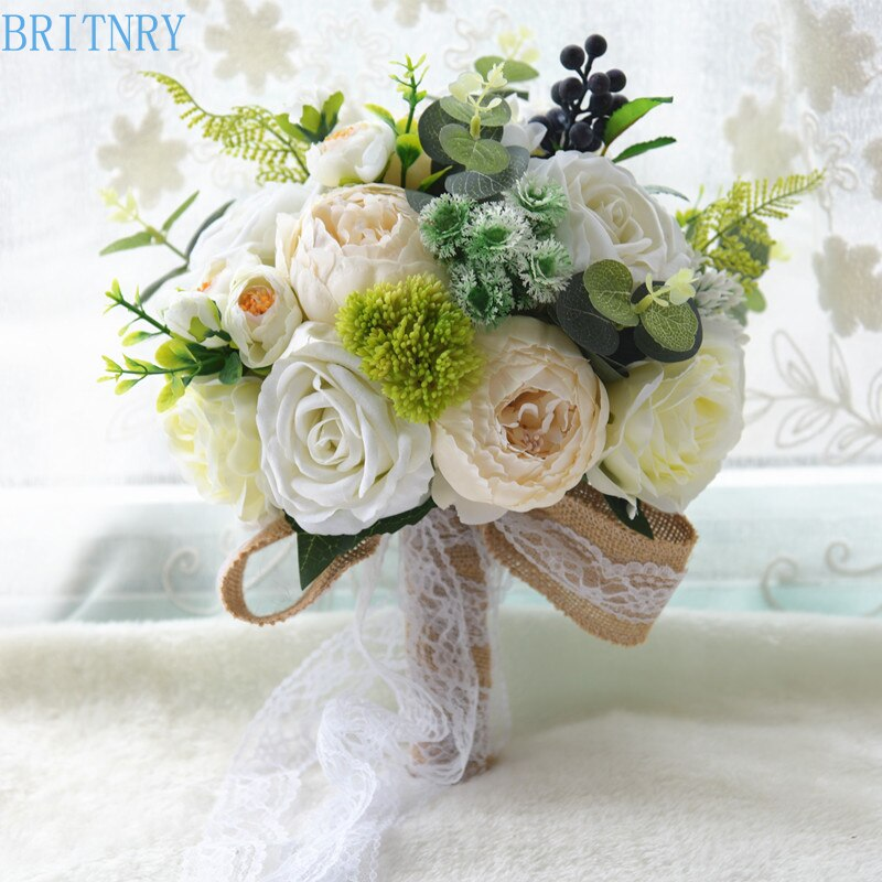 BRITNRY país estilo ramo romántico para boda hecho a mano ramo de flores color rosa de encaje de ramo de novia
