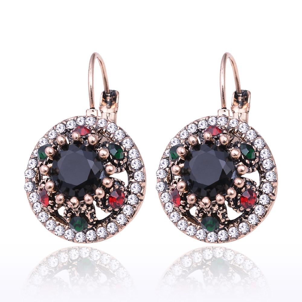 Joyme Fashion vintage Ethnic Flower drop Earrings Retro Elegant Small Crystal drop Earrings Texture Round Enamel Earrings