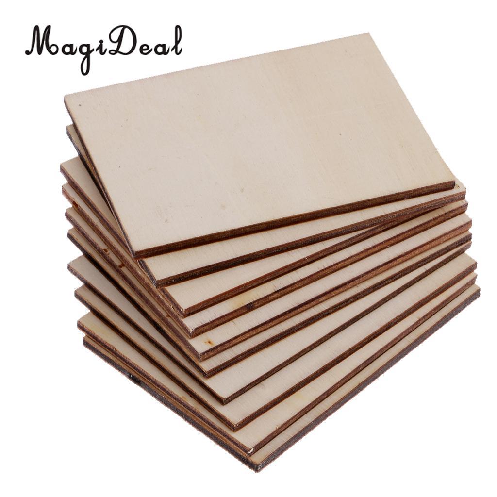 Tarjeta de visita de madera contrachapada en blanco de 70x49mm de alta calidad 10 Uds. Tarjeta De Nombre de madera sin terminar placa de madera formas signo DIY manualidades decorativas
