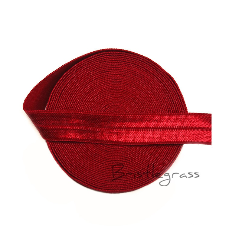 "BRISTLEGRASS 5 Yard 5/8"" 1.5cm Red Solid FOE Fold Over Elastic Spandex Satin Band Kids Hair Tie Headband Lace Trim Sewing Notion"
