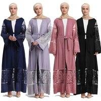abaya kimono lace muslim fashion hijab dress turkey islam clothing robe femme dubai caftan abayas for women bangladesh kaftan