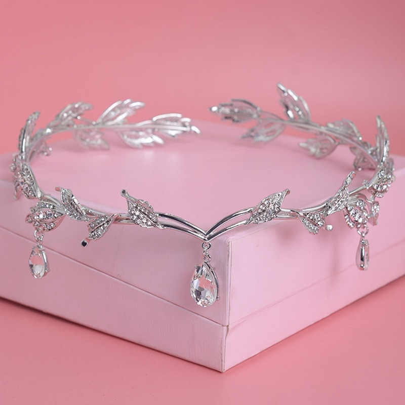 Corona de cristal nupcial pelo accesorio boda de diamantes de imitación de agua tiara de hojas corona diadema Frontlet de dama de honor joyería del pelo