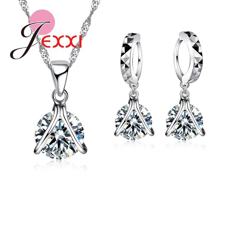 2020 de alta qualidade moda nupcial bling conjunto jóias aaa zircônia cúbica 925 prata esterlina colar pingente e brincos conjuntos