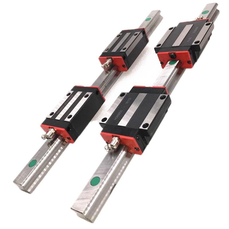 2 unidades HGR15 HGR20 hgr25 carril de guía lineal cuadrado w + 4pc HGH15CA hgh20ca hgh25ca /flang HGW15CC HGW20cc HGW25CA grabado del enrutador CNC
