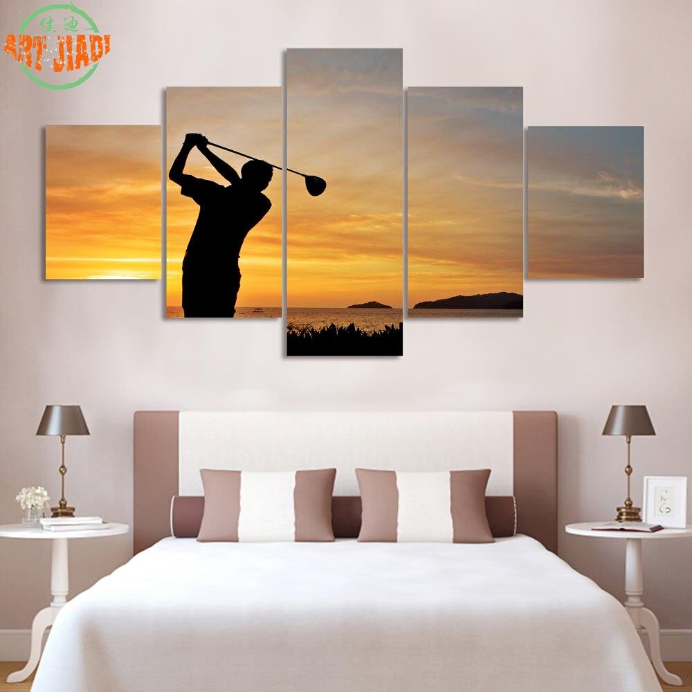 4 unid/set o 5 unid/set arte de la lona de golf-en-puesta de sol HD lona pinturas para la decoración del hogar pared lienzo de impresión artística B4