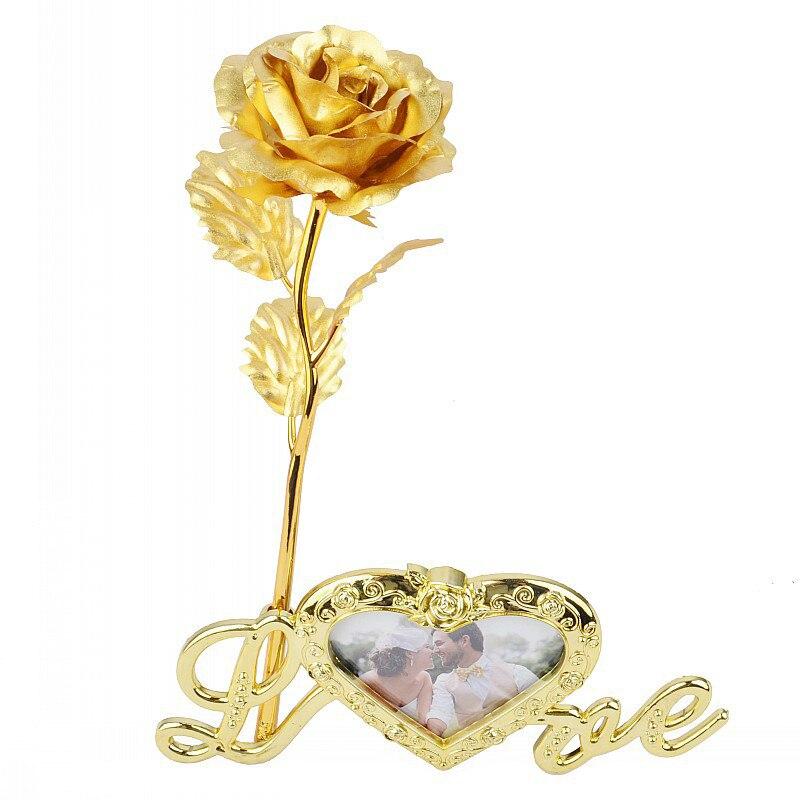 Основа для фотографий на День святого Валентина с золотой фольгой и розой, основа для фотографий с 24-каратным золотым украшением, рамка для цветов, изысканная основа для домашнего декора, подарок