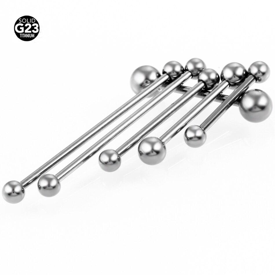 50 قطعة/الوحدة 14g G23 التيتانيوم مستقيم الحديد اللسان خواتم Pircing الجسم ثقب المجوهرات SGS شهادة