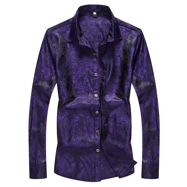 Paisley Floral Silk Shirt Men 2019 Brand New Slim Fit Long Sleeve Casual Button Down Dress Shirts Men Party Perform Shirt Male