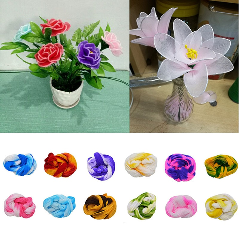 5 uds. Medias de nailon extensibles con gradiente DIY, Material hecho a mano de flores, accesorio para manualidades, hogar, boda, DIY, flor de nilón