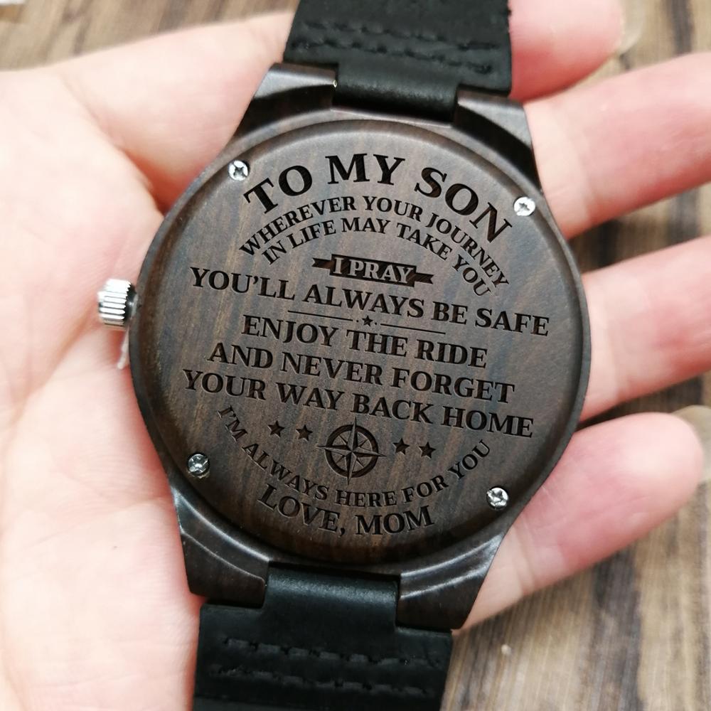 W1800-1 To My Son-Engraved Wood Watch Sandalwood Belt Watches Luxury Automatic Quartz Watches Kid Watch Birthday Graduation Gift