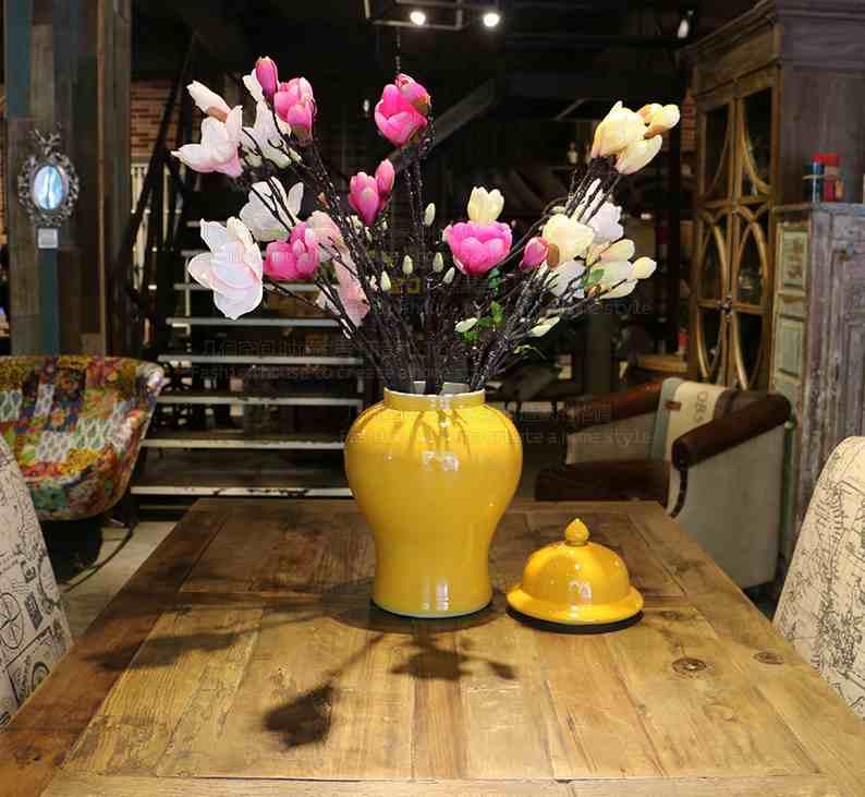 Chinese decorative yellow color glazed ceramic porcelain storage ginger jars