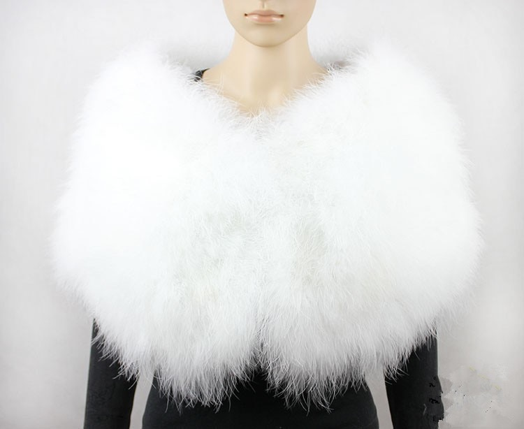 Меховое болеро, шаль для невесты, Женская меховое пончо, накидка для женщин, накидка для свадьбы, белый шарф из натурального страуса, S411