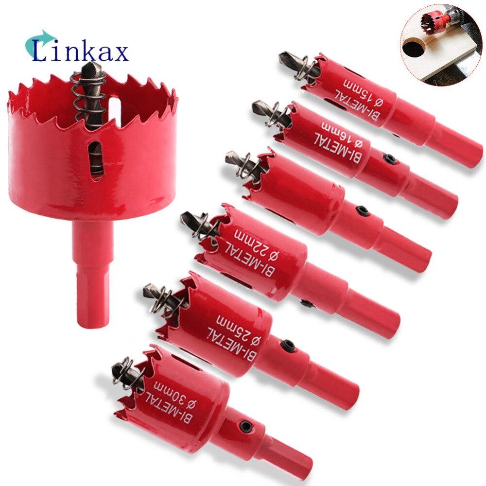 Сверло с красным отверстием для пилы, резец, металлические сверла для сверления M42 HSS, стальной сверлильный набор, открывалка для столярных инструментов, Holesaw для деревянной стали