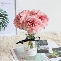Bouquet de fleurs artificielles 5 pieces 1 Bouquet   Fleurs a tenir  pivoines pour decoration de mariage  fausses fleurs decoratives de maison  hortensias en soie