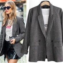2019 veste de costume à carreaux pour femmes européennes et américaines code Extra large OL professional était mince blazer feminino JQ766