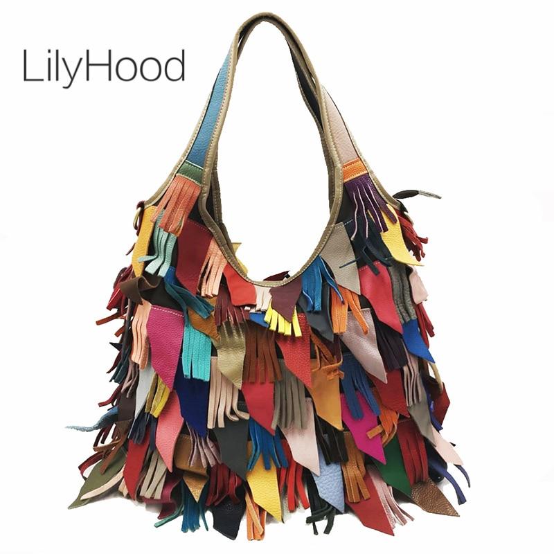 Multi Color Fringed Handbag Female Genuine Leather Big Capacity Oversize Slouch Bag Women Ethnic Tribal Bohemian Shoulder bag