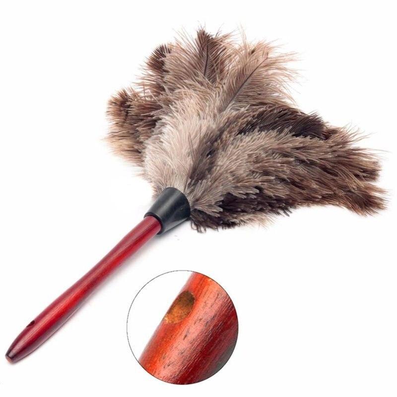Plumero de Polvo, cepillo de limpieza antiestático, herramienta de piel de plumas de avestruz Natural, Plumeros domésticos Para El plumero de plumas