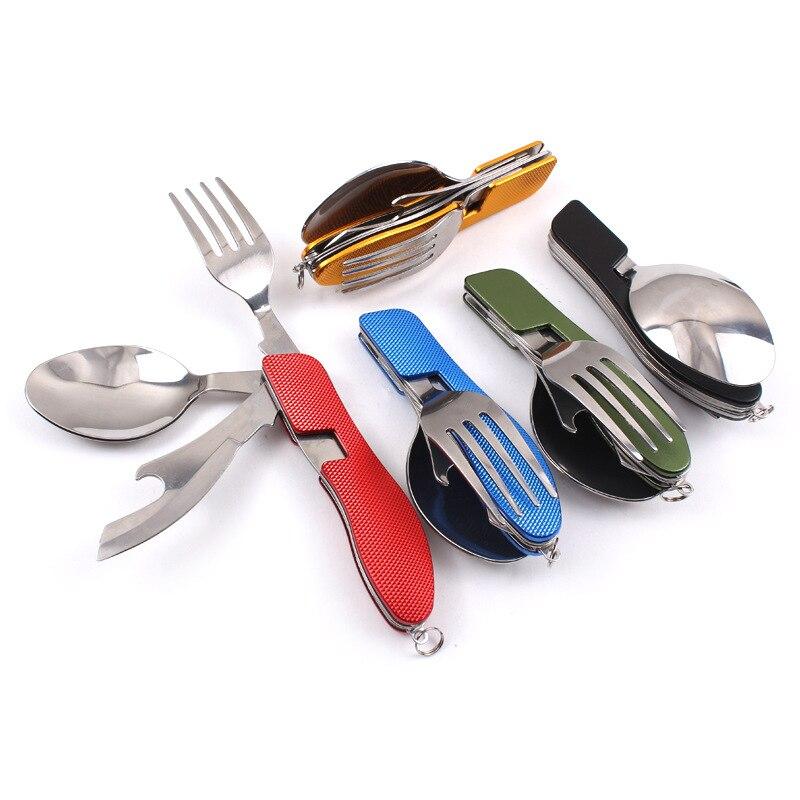 Acampamento dobrável garfo colher faca conjunto de aço inoxidável portátil ao ar livre acampamento piquenique conjunto 3 em 1 multi-função ferramenta
