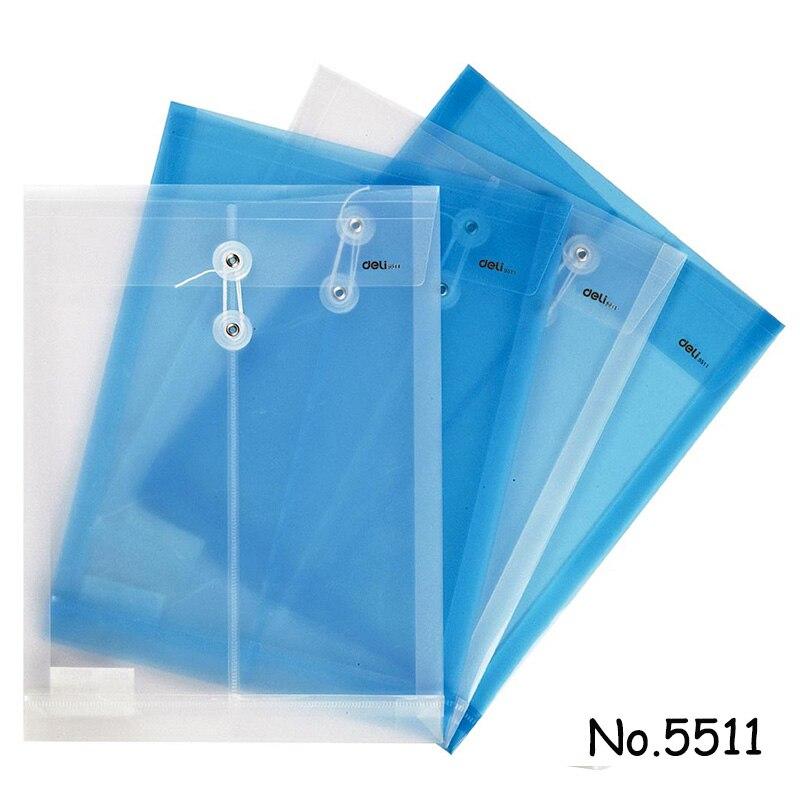50 Uds. Al por mayor carpeta de archivos A4 transparente bolsa de documentos cuerda cerrojo de hebilla Botón de almacenamiento clasificado papelería bolsa Oficina escuela
