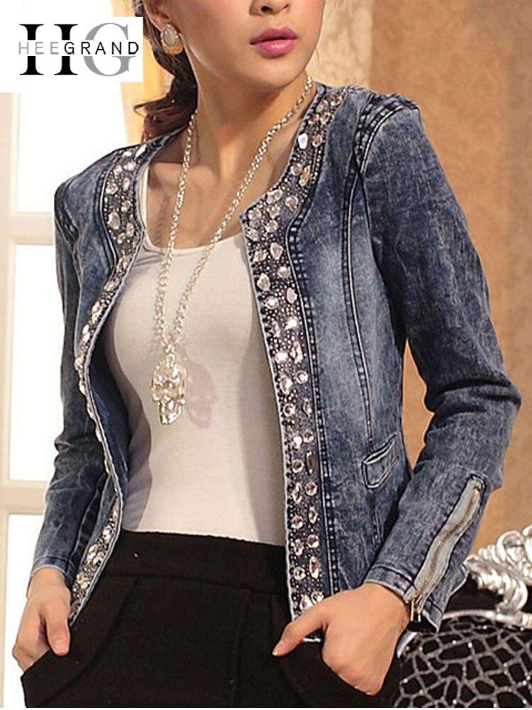 HEE GRAND Jeans Chaquetas Mujer Chaqueta Mujer otoño Denim Chaqueta Casaco mujeres Crystal Slim corto prendas de vestir de talla grande S-4XL WWJ920