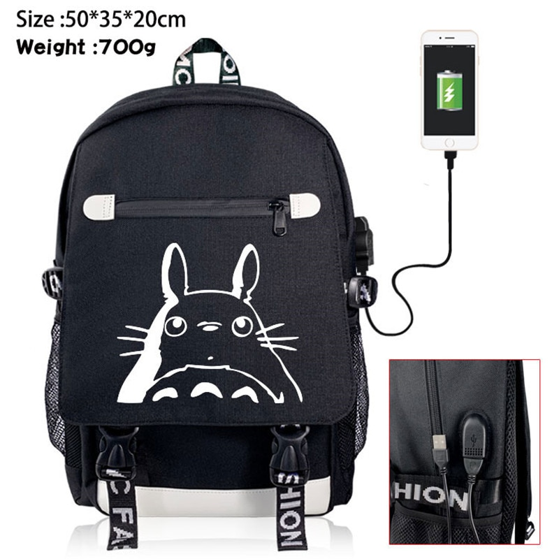 My Neighbor Totoro No Face Man Anime Backpack Rucksack Travel School Bag Boy Girl Book Bag Day Pack USB Port Black Front Zipper