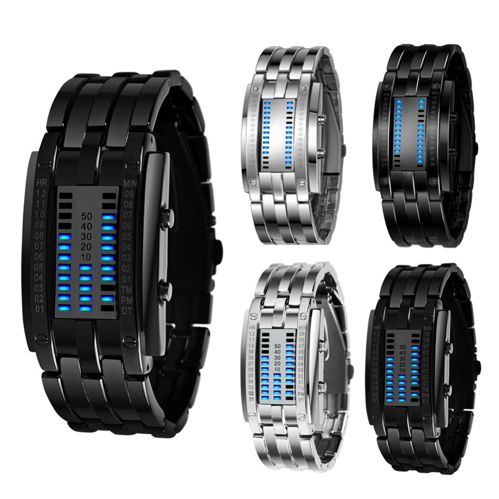 Luxury Watch Lovers Men Women Stainless Steel Blue Binary Luminous LED Electronic Display Sport Watc