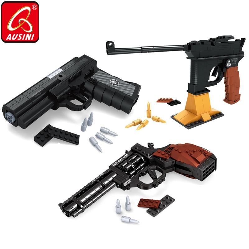 AUSINI строительные блоки пистолет игрушки для детей Magnum револьвер Mausers Пистолет Desert Eagle Дизайн Оружие Армия Военная Модель кирпич