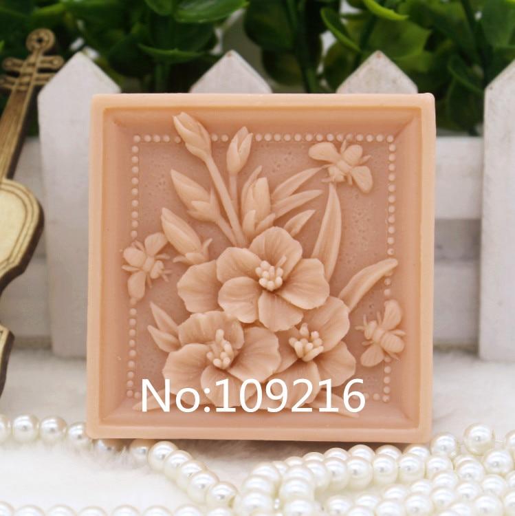 Новый продукт! 1 шт. маленький букет и пчела (zx150) силиконовые формы для мыла ручной работы DIY