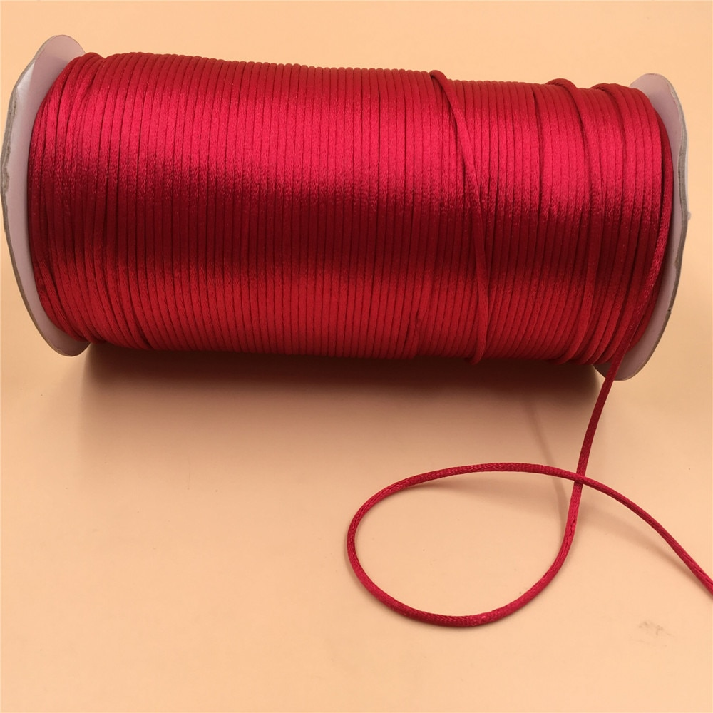 2017 0 8mm 100m spool macrame rope satin rattail nylon cords string kumihimo chinese knot cord diy bracelet jewelry findings 2mm X 20Meters Red Chinese Knot Rattail Satin Cord Braided String Jewelry Findings Beading Rope #R700