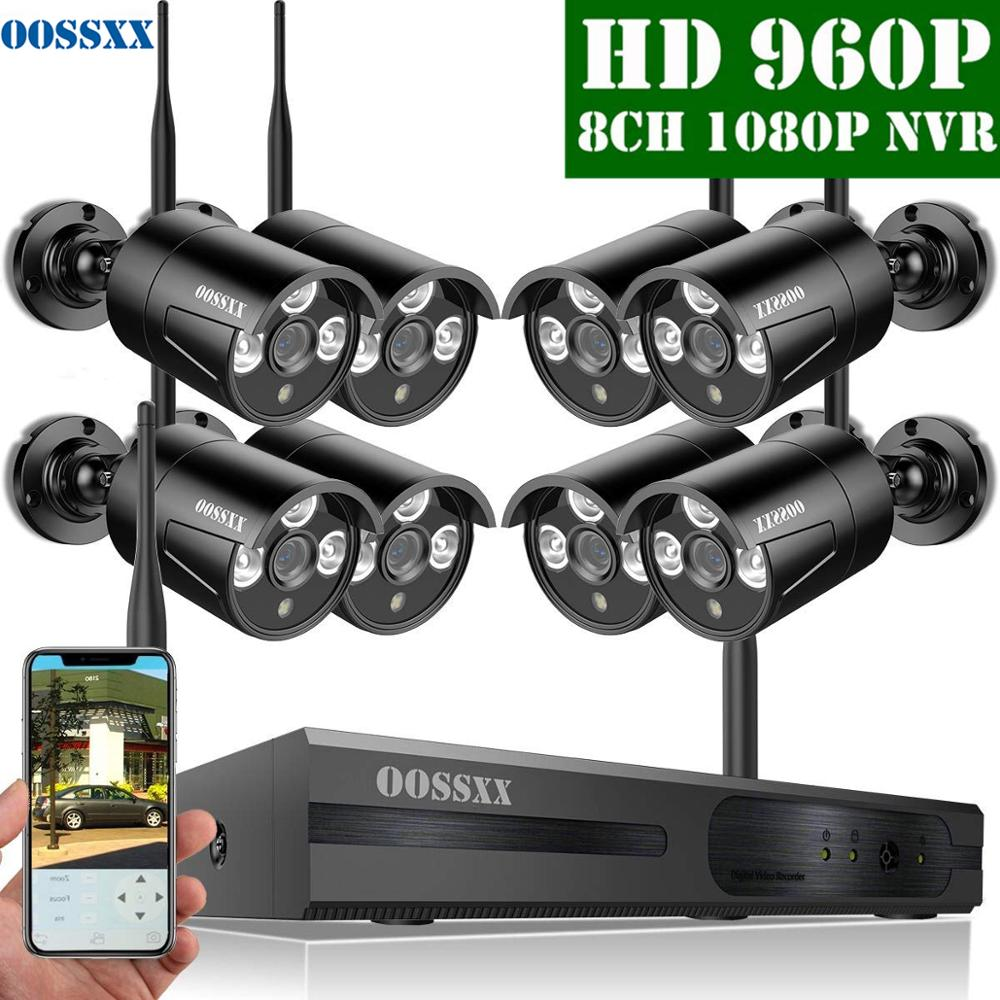 Sistema de cámara CCTV OOSSXX 8CH Kit NVR inalámbrico, 8 Uds., 960P, 1,3 MP, cámara de seguridad IP67 para interiores y exteriores, sistema de videovigilancia Wifi