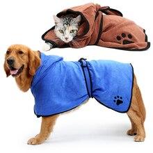 Serviette de bain Ultra douce bleue brune   Peignoir absorbant, pour chien, séchage rapide, serviette motif patte mignonne, pour chats, Animal, fournitures de nettoyage pour animaux
