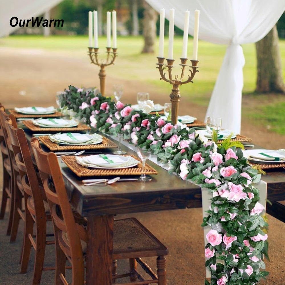 Наш теплый деревенский Свадебный искусственный шелк, цветы розы, Настольная дорожка, подвесная Цветочная Гирлянда для свадьбы, дня рождени...