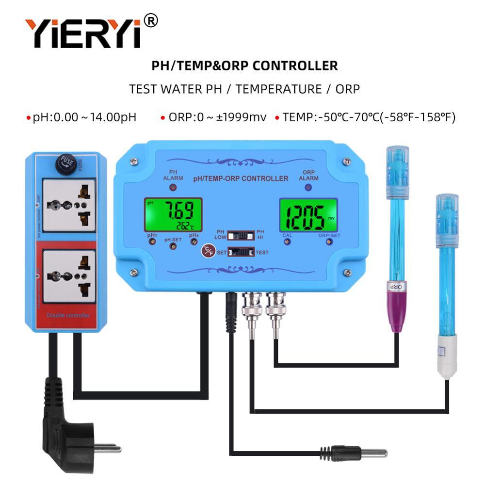 Yieryi 3 في 1 pH/درجة الحرارة/ORP تحكم كاشف جودة المياه BNC نوع التحقيق المياه جهاز اختبار جودة الماء لرصد حوض السمك