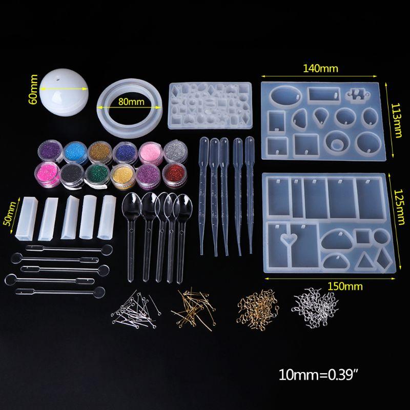 1 conjunto de silicone molde resina cola epoxy artesanato diy jóias fazendo ferramentas com pó brilhante colher mix vara fecho pingente colar