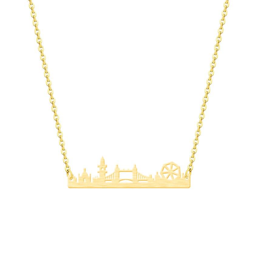 10 pçs charme paisagem urbana vintage londres skyline colar de aço inoxidável paisagem pingente moderno jóias minimalista colares
