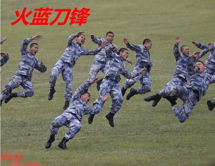 Marine Marines fire blue camouflage uniforms with the money amphibious reconnaissance battalion blade CS training S-XXL