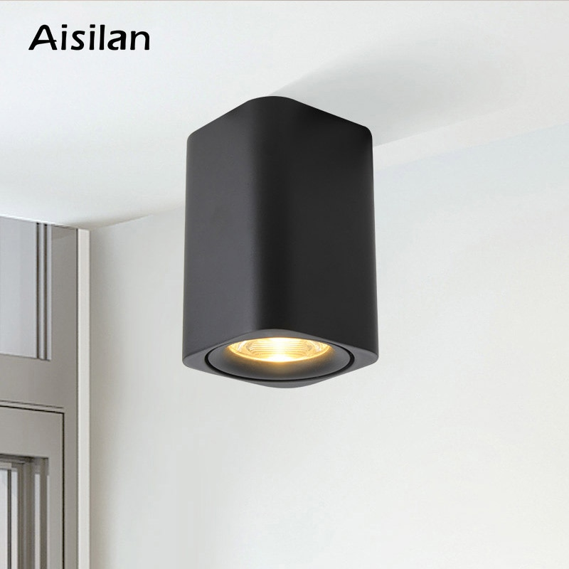 aisilan square led surface mounted cube ceiling downlight for room corridor hallway ac85 260v cob design spot light AisilanNordic Modern style square down light ceiling light surface mounted for living room bedroom corridor kitchen AC85-260V 9W