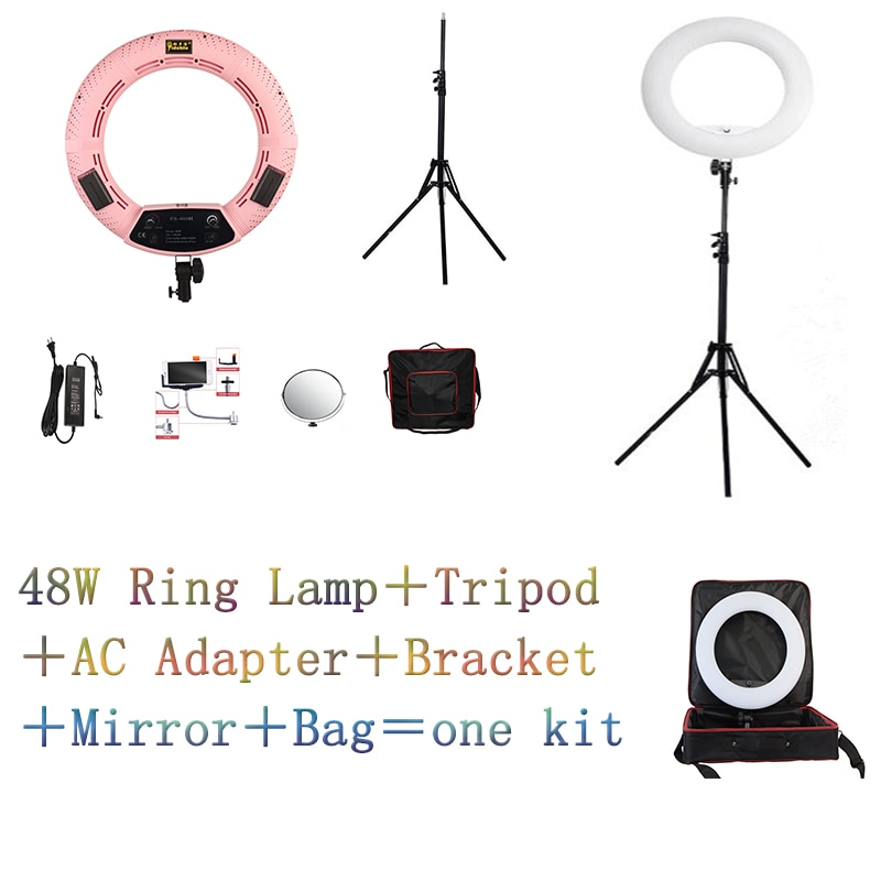 "Yidoblo Pink FS-480II 5500K Dimmable Camera Photo/Studio/Phone/Video 18""48W 480 LED Ring Light LED Lamp +Soft bag Kit"