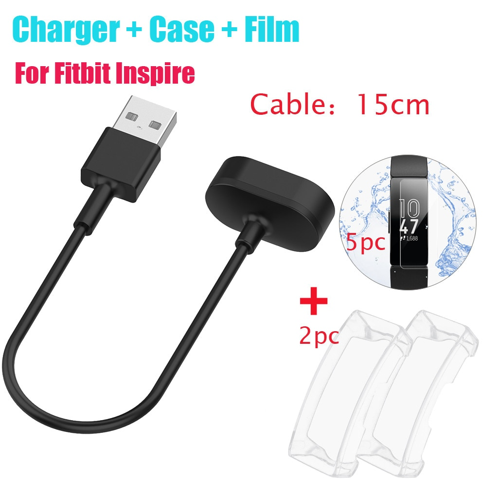 Durable para Fitbit inspirar/Inspire HR Fitness pulseras cargadores USB de Cable de carga de longitud 15CM + funda + 5 película