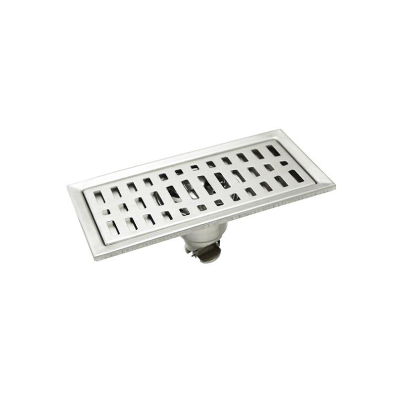 Desagüe de suelo de acero inoxidable rectangular de 20x10 cm, rejilla de residuos para ducha de baño o cocina