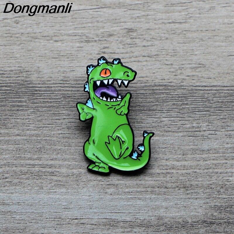 L3555 figura de Anime dinosaurio esmalte Pin broches dibujos animados creativo Metal broche Pins vaquero sombrero insignia Collar joyería 1 piezas