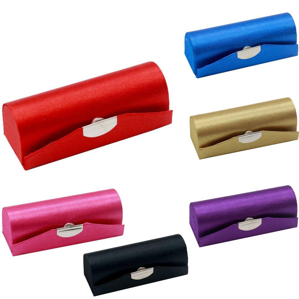 Puro Color de lápiz labial caja titular con espejo de las mujeres de cosméticos de embalaje de la joyería tela lisa de lápiz labial caja de almacenamiento
