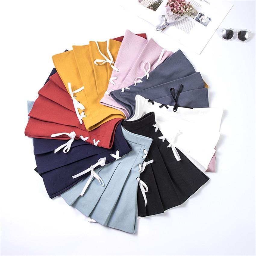 2018 Plus Size S-2XL Women High Waist Pleated Skirt Japanese School Skirt Sweet Girls Lace-Up Solid Skirts Uniform Mini WZ637