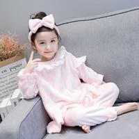 winter children pajamas sets cute warm flannel girls loungewear coral fleece kids pijamas girls sleepwear suit 3 4 5 6 7 8 years