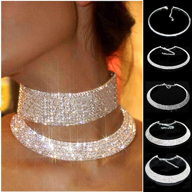 Venta caliente joyería de moda de Color plata Collar de diamantes de imitación de cristal Collar gargantilla collares boda fiesta de cumpleaños joyería