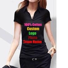 Élastique Cool femmes à manches courtes col en V T-shirt personnalisé Photo Logo texte imprimé femme bricolage équipe entreprise travail t-shirts coton t-shirts
