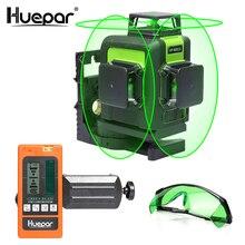 Huepar 12 линий 3D перекрестный лазерный уровень зеленый лазерный луч самонивелирующийся 360 вертикальный и горизонтальный с очками и лазерным приемником